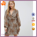 customize your own leopard print girl dress,pattern long sleeve dress manufacturer in china