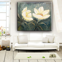 White color lotus flower dining room modern bright oil canvas paintings