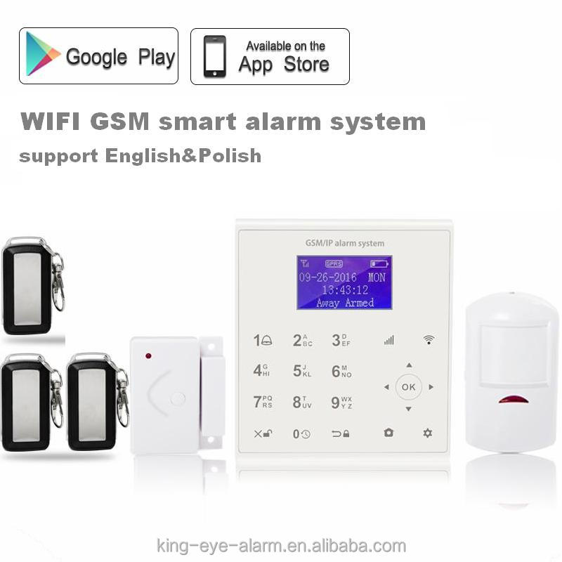 LCD timely arm/disarm home appliance remote control wireless smart home alarm system 868 mhz wifi gsm