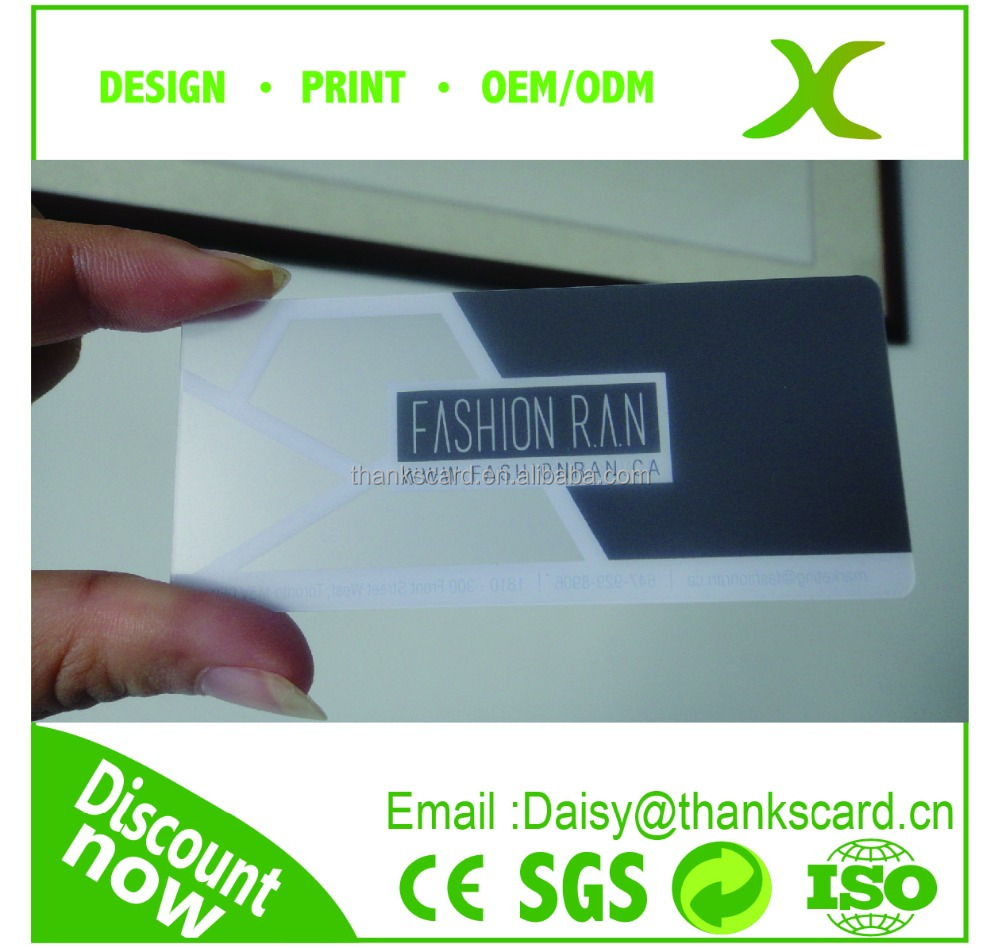 Free Design~~!! 90*40MM custom size card/ clear business card/ transparent matte business card