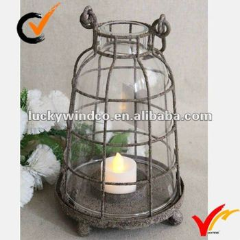 Antique Home Goods French Metal Candle Holder in Rusty Finish