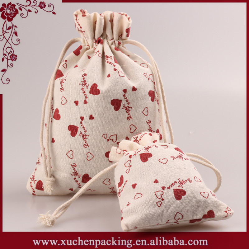 Factory Bottom Price Good Look Gift Present Full Printing Cotton Calico Drawstring Bag