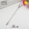 Custom men clothes silver pearl metal lapel pin with long needle