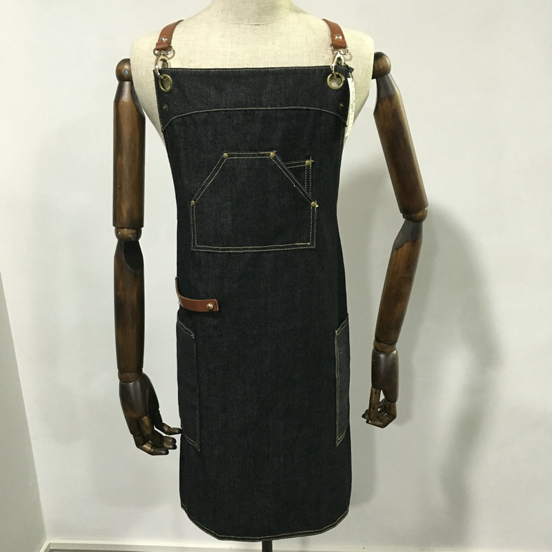 Wholesale denim aprons chef apron with multi pockets
