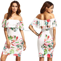 Elegant Women's Floral Ruffle Off Shoulder Party Sexy Bodycon Dress Sexy Tight Short Mini Party Dresses
