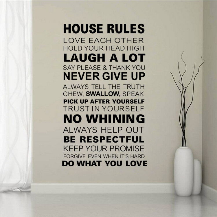 Home Decoration House Rules Family love Large wall stickers quotes decals home lettering art sayings decor