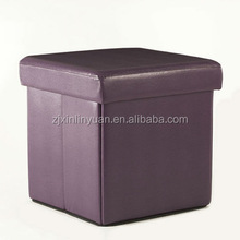 Pvc leather Square Folding Storage Stool seat ottoman