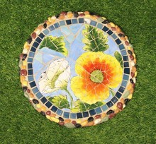Ceramics Mosaic Stepping Stone, Sunflower Pattern Paving Stone, Beautiful Handpainted Porcelain Stepping Stone (BF01-P1012)