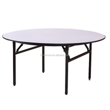 Foshan wholesale hot sale hotel adjustable polywood round dining restaurant folding banquet wedding table diameter180