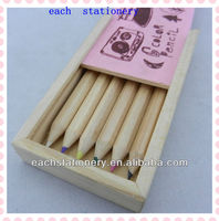 mini natural color pencil set with wooden pencil box in bulk