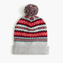 BOY'S 45/19/15/15/6 lambs wool/wool/viscose/polyamide/alpaca KNITTED BEANIE(HAT) IN FAIRISLE JACQUARD WITH LINING AND POM POM
