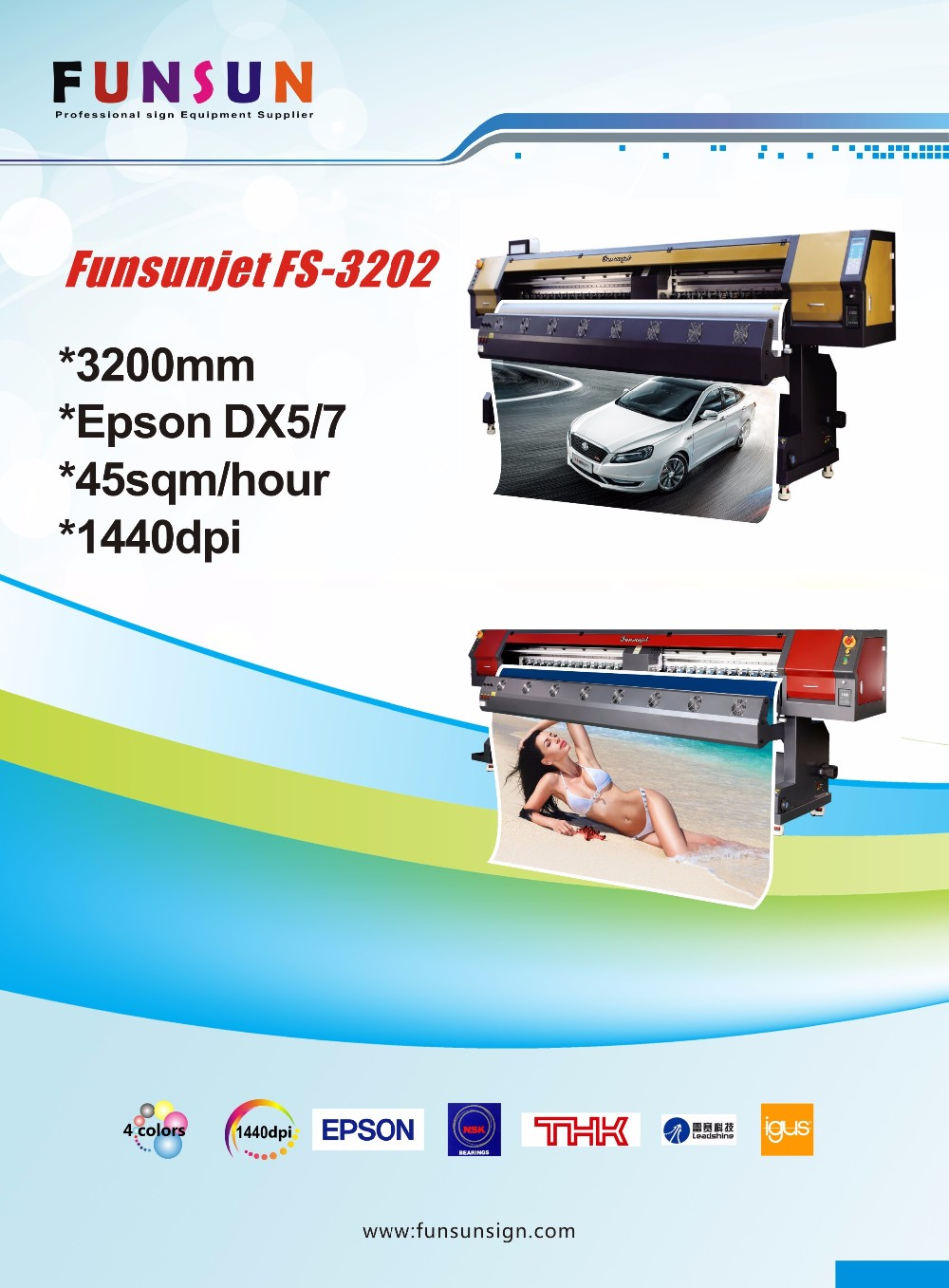 Funsunjet FS-3202M 3.2m dx5 head 1440dpi solvent printer