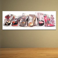 Modern Colorful High Heel Wall Art, Pop Canvas Oil Painting