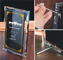 Black Wedding Favors & Anniversary Souvenir Design Laser Engraved Crystal Glass Plaque PJYRC-053