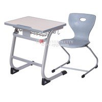 PP Injection Edge School Table Fixed Single Desk & Chair