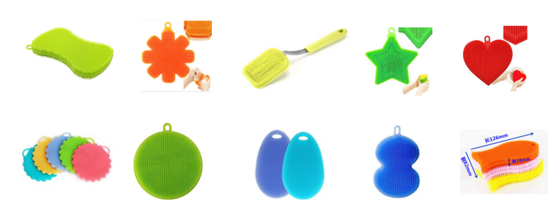 Kitchen Dish Washing Stay Clean Silicone Scrubber, Green