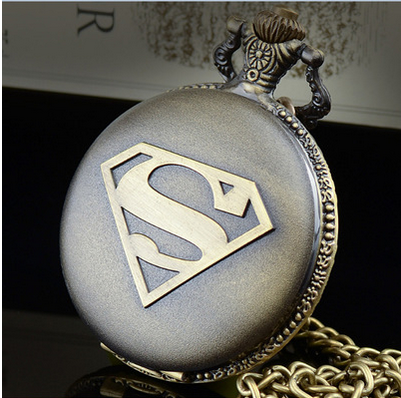 The New Hot Cartoon Icon Superman Quartz Pocket Watch Cartoon For Kid Necklace Watch