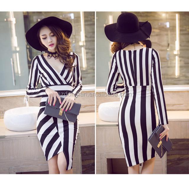 2015 Korean ladies casual dresses vestido V collar black and white stripe dress irregular dress