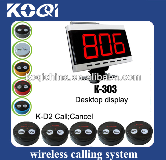 hot sale radio paging System K-303+K-D2 for Restaurant hotel