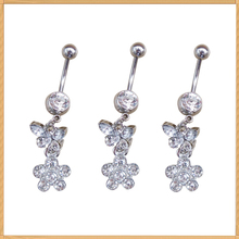 Jewelry factory supply dangle flower belly ring