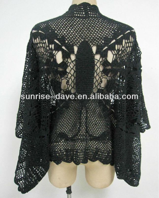 100% de punto de algodón crochet patrón de mariposa de la capa de ...