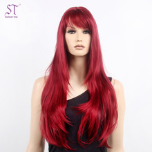 Girl Red Long Straight Hair Cheap Synthetic Silky Wig For Japan Anime Cosplay