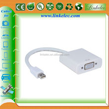 White Mini dp to vga converter adapter 1080p mini displayport to vga short cable