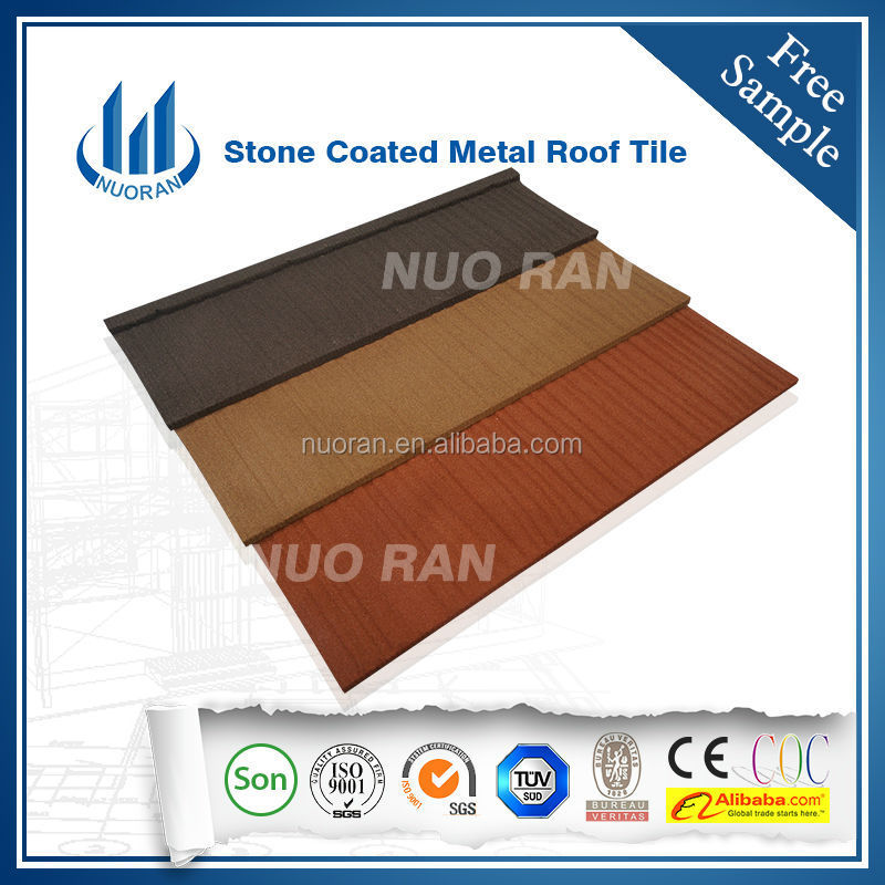 NUORAN popular colorful stone coated steel roof tile/ metal corrugated roofing tile/ stone chip coated metal roof tiles sheet