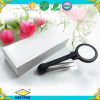 Portable insect magnifying viewer with tweezers