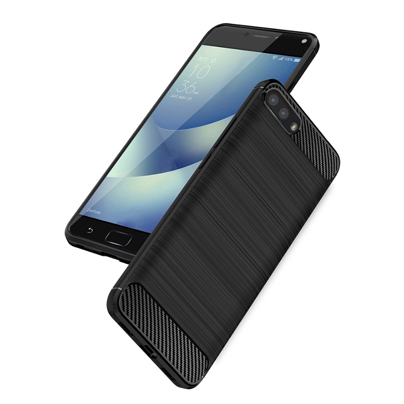 Carbon Fiber Flexible TPU Rubber Soft Silicone Full-body Protective Cell Phone Cover Case for Asus ZenFone 4 Max Pro ZC554KL