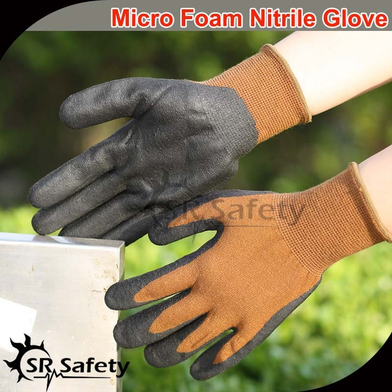 SRSAFETY black nitrile coated glove foam finish gloves/spandex & nappy acrylic liner black nitrile coated gloves