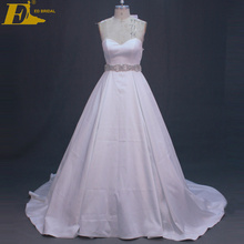 High Quality Satin Sweetheart Neck Low Cut Back Wedding Dresses Gowns With Beaded Belt