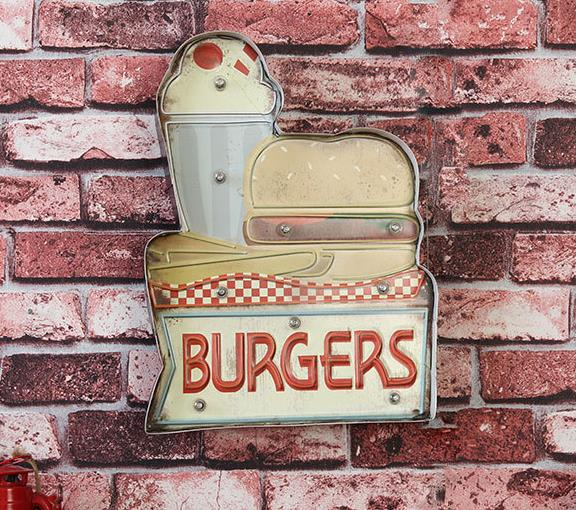 American Iron Retro Wall Decorations LED Lamps BURGERS Hamburger House Decorative Iron Paintings