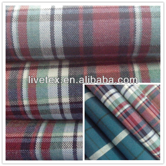 Polyester Viscose Check and Stripe Fabric