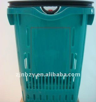 4 hot sale single Handle Plastic Trolley Baskets with Wheels