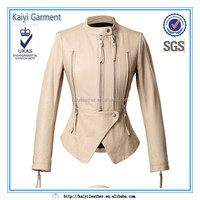 high quality custom white leather motorcycle jacket for women