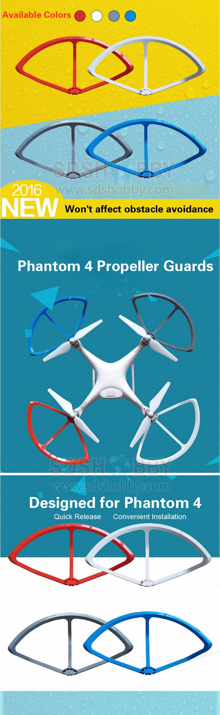 1set Phantom 4 Quick-release Propeller Guards Protectors Shielding Rings Bumpers for DJI Phantom4/PRO/PRO+ v2.0 Fortress Design
