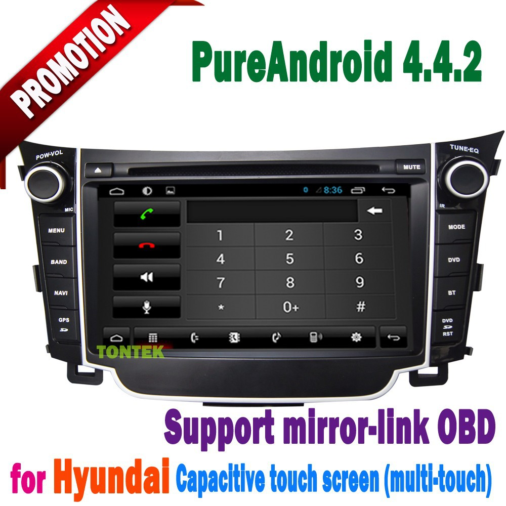 Android 4.4.2 dashboard hyundai i30 with DVD WIFI mirror link steering wheel control