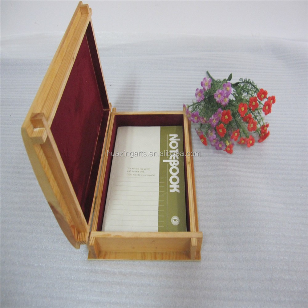 Unfinished pine wooden layer book shaped gift box with free sample