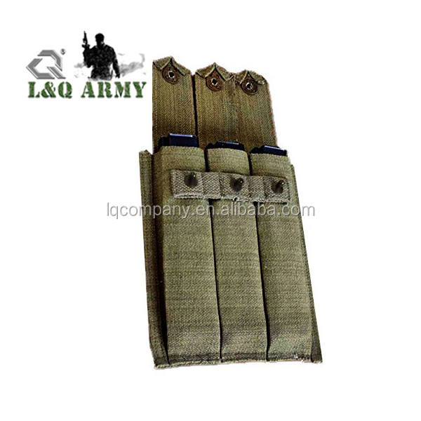 Tactical Militaria Pouch Army Military Ww2 Reproduction Od Green Canvas Triple Cell 3 Pocket 30rd Magazine Pistol Belt