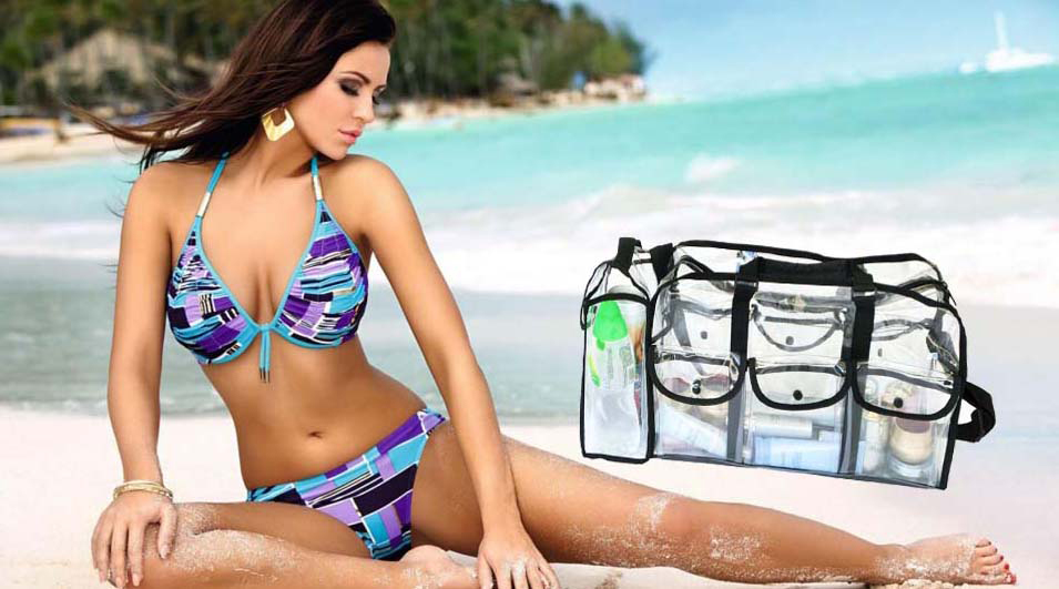 Plastic Beautiful beauty clear cosmetic bag, portable pvc transparent cosmetic bag with zipper