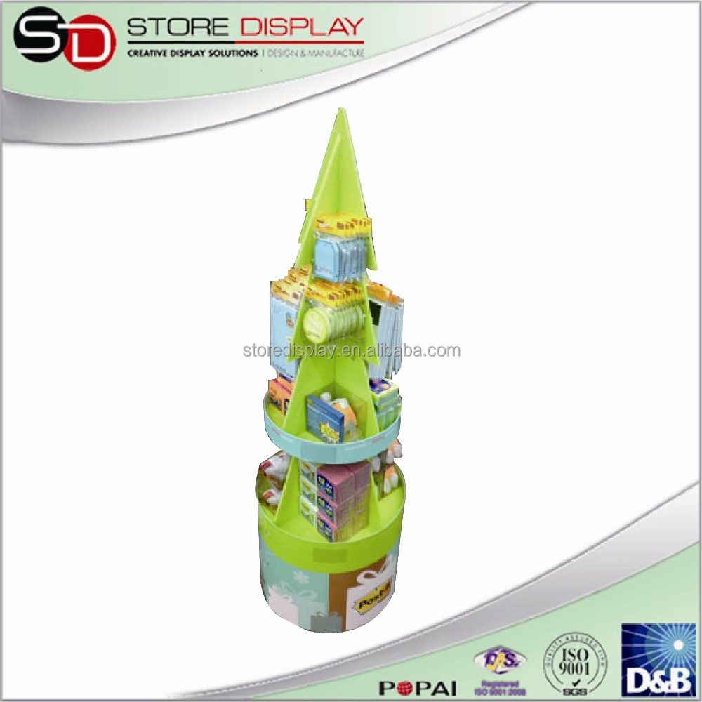 Cardboard pop display stand hair products display shelf, pop gift card display rack,cosmetic glass shelf display stand