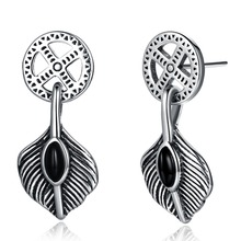SJ Ancient style 2018 silver 925 black cubic zirconia exquist banana leaf shaped drop earrings SVE225