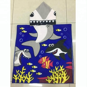 China suppler microfiber lovely animal printed kids towelling hooded baby beach towel
