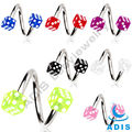 Mix color screw ring piercing 16 Gauge stainless steel acrylic Dice spiral barbell