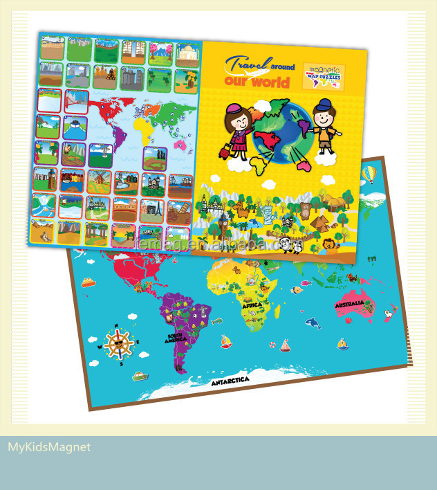 E1010 wholesales top quality for 3 ~ 9 years olds kids and child magnetic learning world map puzzle resources
