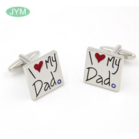 Promotional gifts brass material I love Dad soft enamel cufflinks
