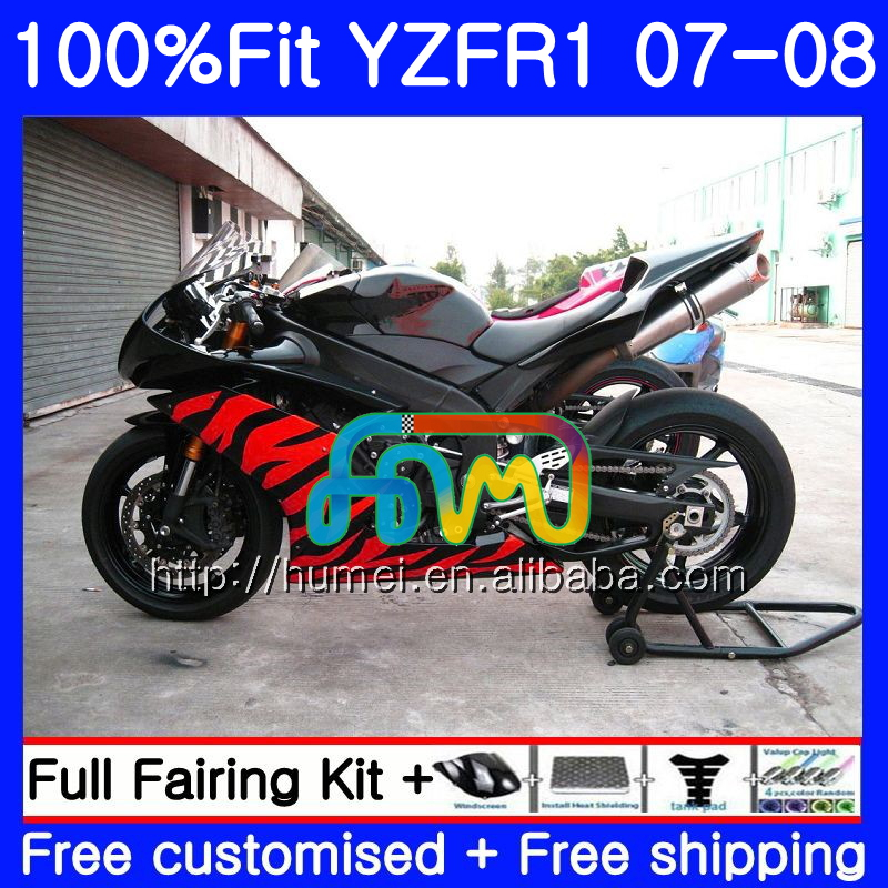 Injection Body For YAMAHA YZF <strong>R1</strong> 07 08 gloss black YZF-<strong>R1</strong> 2007 <strong>2008</strong> 90HM58 YZF1000 YZFR1 YZF-1000 YZF 1000 R 1 07 08 <strong>Fairings</strong>