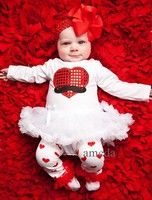 Lovely Baby Red Heart Mustache White Long Sleeves Bodysuit Pettiskirt with Leg Warmers and Headband 3pcs Set