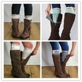 2014 Lace knee high Boot Socks Cuffs with Ivory Lace trim